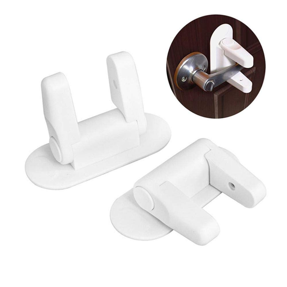 Child Proof Door Lock (2 Pack) by Big-Fun,Cabinet Locks & Straps Prevent Toldder Entering or Leaving Rooms with 3M Adhesive for Kids Safety at Home