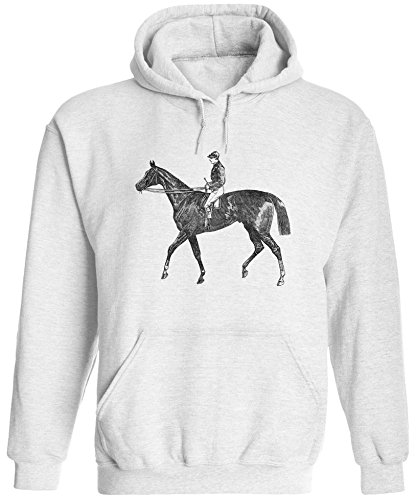 Austin Ink Apparel Unisex Mens Old Racing Horse Printed Pullover Hooded Sweatshirt (White, XL)