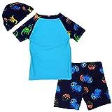 Boys Short Sleeve Rash Guard Dinosaur Swimsuit Set