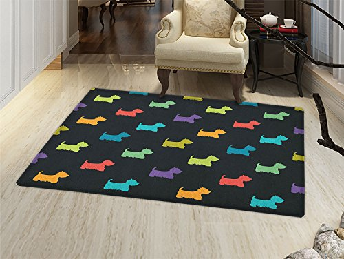 Dog Lover Door Mat Small Rug Colorful Dog Silhouettes West Highland Terriers Canine Cartoon Style Animal Fun Bath Mat 3D Digital Printing Mat Multicolor