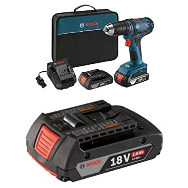 Bosch 18-Volt Compact Tough Drill/Driver Kit with 2 Lithium Ion Batteries, 18V Charger,Soft Carry Contractor Bag with 2.0 AH battery