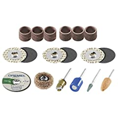 Speed-up your sanding and grinding jobs with technology from Dremel. The EZ Lock / EZ Drum Kit contains everything you need for all of your sanding and grinding applications. The kit features 18 EZ Lock sanding and grinding accessories and in...