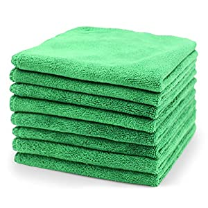 "Surprise Pie Microfiber Cleaning Cloth Professional Grade Premium Towels for Car Wash Drying Green 400GSM Best Towels for Dusting, Scrubbing, Polishing, Absorbing -12"" x 12"" 8 Pack"