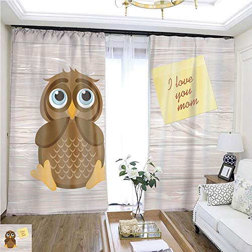 Gauze Curtain Cute owlet Dreams of The Present Owl Thought Greeting Card with Empty Space Yellow Sheet of Paper Sticker for Notes Vector I Love You mom Wooden Background W72 x L78 Sliding Door curt ()