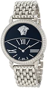 Versace Women's 93Q99D008 S099 Krios Stainless Steel Black Enamel and Sunray Dial Watch