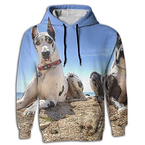 Great Dane Crewneck Sweatshirt (Heyshoe 3D Dogs Great Dane Mens Pullover Hooded Sweatshirt With Pockets Casual Hoodies L)