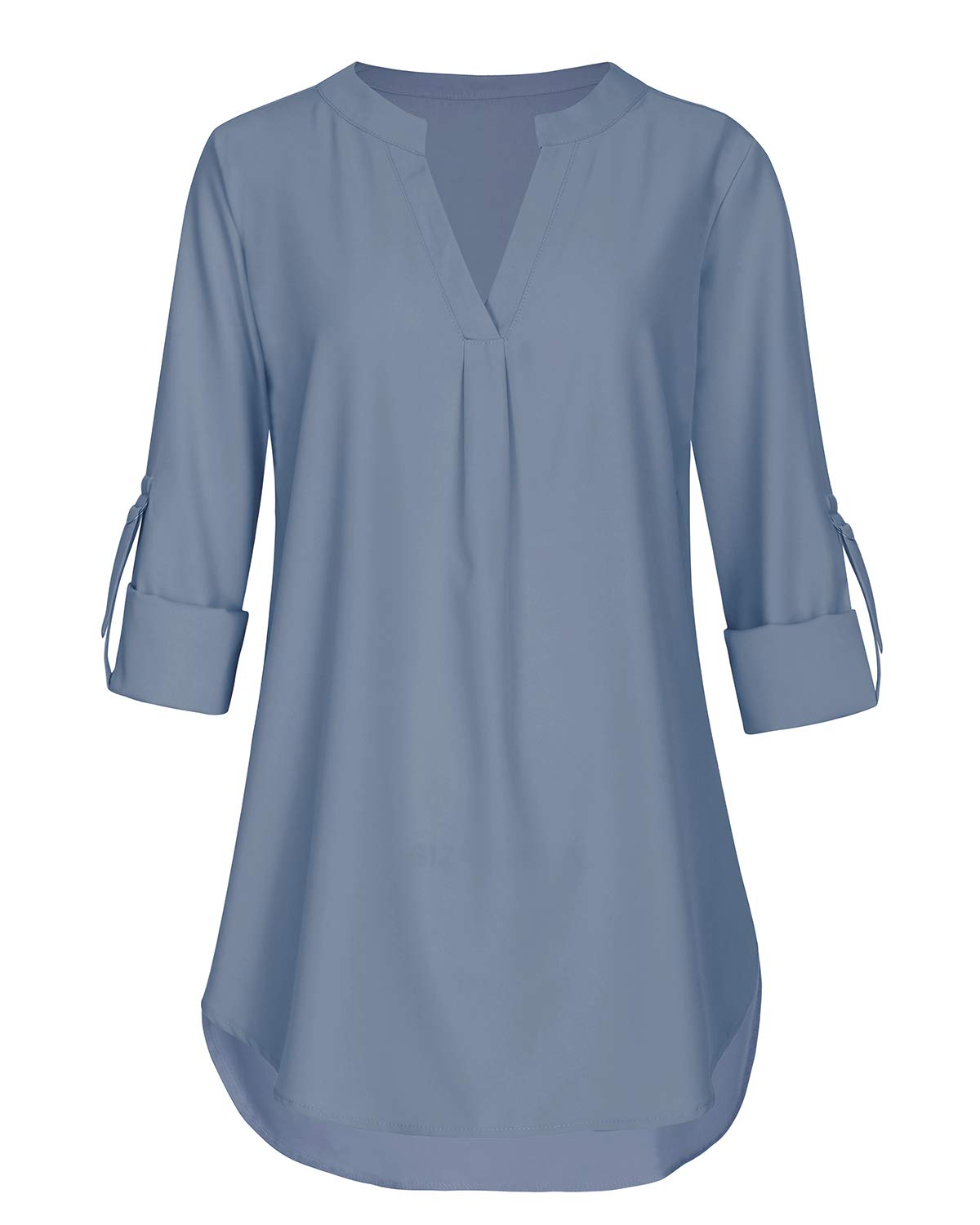 Aliling Business Casual Tops for Women, Ladies 3/4 Cuffed Sleeve V Neck Pleats Fitted Tunic (Blue, Large)