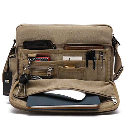 Mlife Men Canvas Messenger Bag (Khaki)
