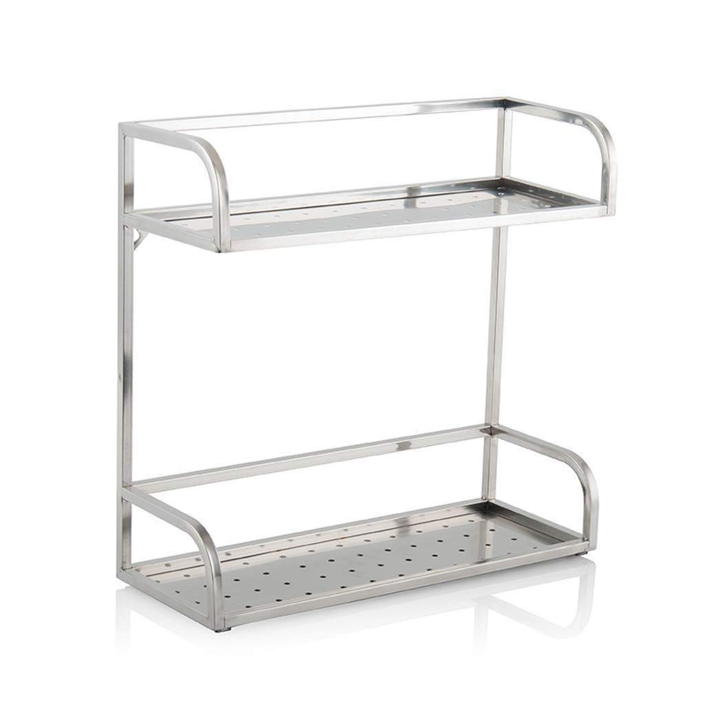 50CM Stainless Steel Seasoning Shelf Kitchen Household Countertop Two-Layer Condiment Storage Rack zbbSwza (Size   50CM)