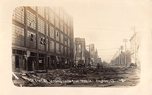 Dayton Ohio St Clair Street Disaster Real Photo Antique Postcard - Stores St Clair