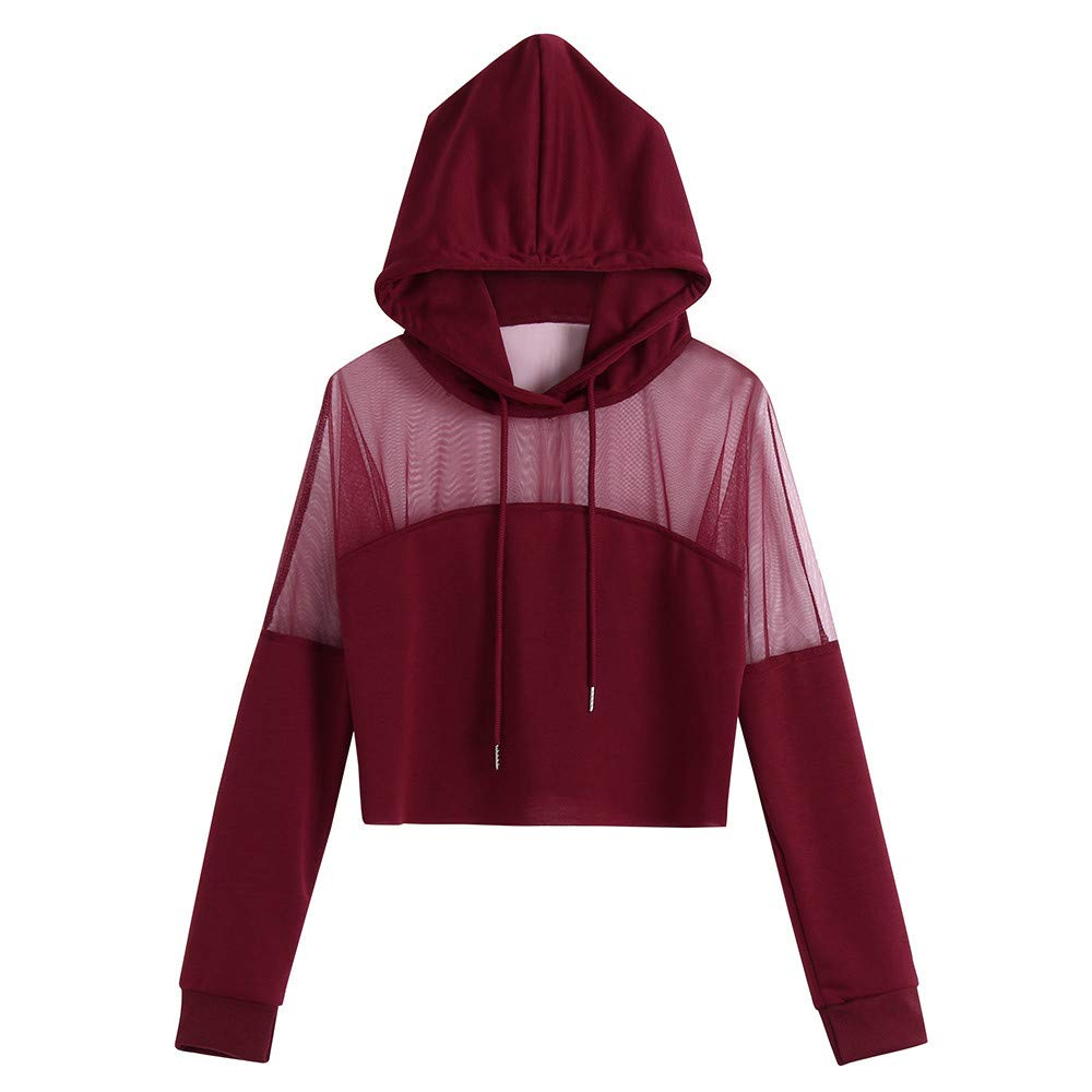 Roysberry Women Crop Top Fashion Stitching Hoodies for Teen Girls Clearance Tops (Wine Red, S)