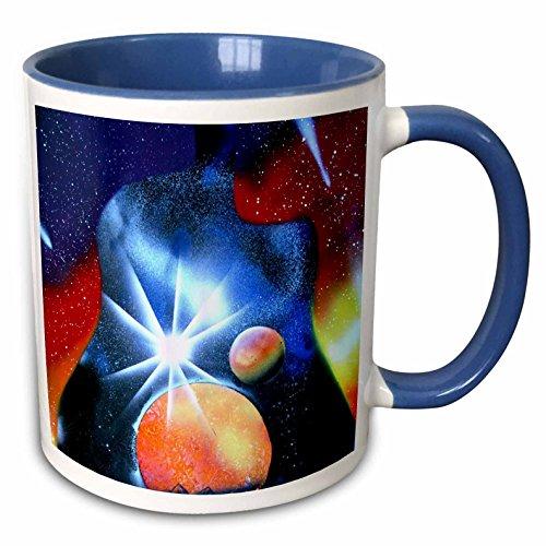 3dRose Susans Zoo Crew Spacepainting - orange planet star burst guitar shape - 15oz Two-Tone Blue Mug (mug_183114_11) ()