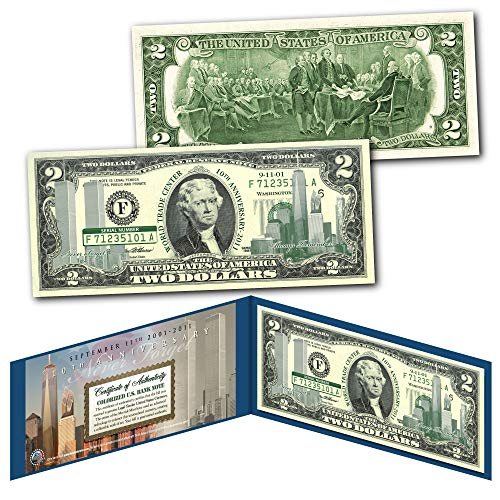 WORLD TRADE CENTER 9/11 * 10th Anniversary * $2 US Bill GRN - SPECIAL LOW - Currency Tender Legal