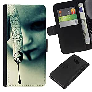 EJOY---La carpeta del tirón la caja de cuero de alta calidad de la PU Caso protector / HTC One M7 / --Vampiro de Halloween oscuro gótico