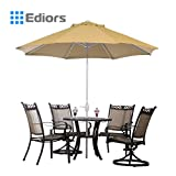 Ediors® Deluxe Ivory 9 Ft Cantilever Hanging Patio Umbrella Freestanding Outdoor Parasol Adjustable Market Umbrella, white pole, 250g/sqm Polyester (Beige)