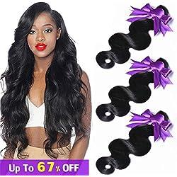 "Brazilian Hair Virgin Weave Hair Human Hair Bundles Deals 16"" 14"" 12"" Inch 3 Bundles of Brazilian Hair Bundles Remy Brazilian Body Wave Total 300 Grams/10.5oz Body Wave Hair Natural Color Giulia Hair"