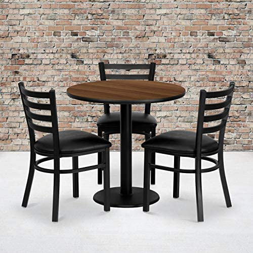 Flash Furniture 30 Round Walnut Laminate Table Set with 3 Ladder Back Metal Chairs – Black Vinyl Seat