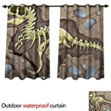 cobeDecor Dinosaur 0utdoor Curtains for Patio Waterproof Underground Fossil Earth W108 x L72(274cm x 183cm)