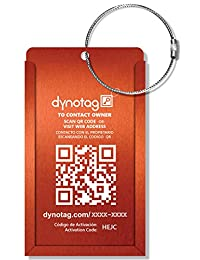 Dynotag® Web/GPS Enabled QR Smart Aluminum Convertible Luggage Tag w. Steel Loop in Six Colors (Orange)