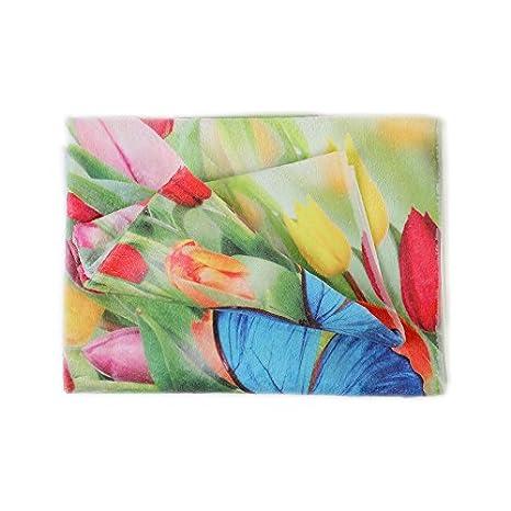 Pierre Cardin Par Toallas baño Esponja Fantasia Flores Tulipanes Viso + Invitados: Amazon.es: Hogar