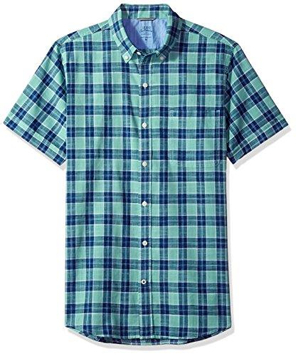 Chambray Plaid Shirt (IZOD Men's Saltwater Dockside Chambray Plaid Short Sleeve Shirt, Dusty Jade Green, Medium)
