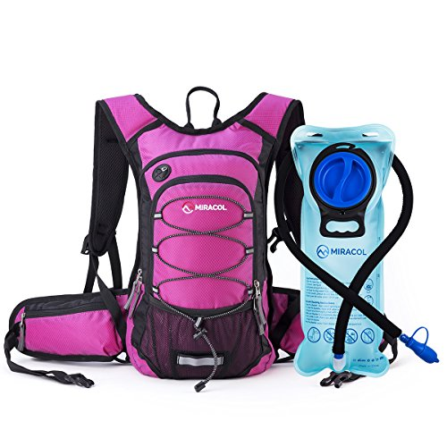 MIRACOL Hydration Backpack with 2L BPA Free Water Bladder, Thermal Insulation Pack Keeps Liquid Cool up to 4 Hours, Perfect Outdoor Gear for Hiking, Cycling, Camping, Running (Rose)