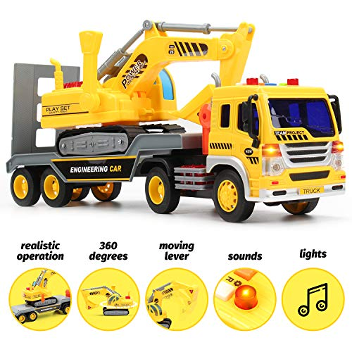 (Friction Powered Flatbed Truck w/ Excavator Tractor Toy - Push and Go Truck Toy and Construction Toy for Boys and Girls, Realistic Push & Pull Friction Truck w/ Lights and Sounds, Beautiful Gift Box)