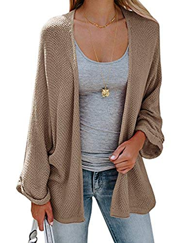 - Sherrylily Womens Loose Open Front Kimono Cardigan Cape Long Sleeve Solid Color Sweater Cloak Khaki