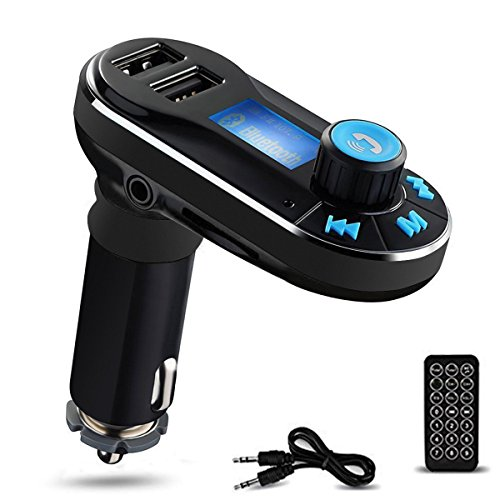 Mp3 Remote Transmitter - Perbeat Bluetooth FM Transmitter Wireless Receiver Hands free Car Kit Radio Adapter MP3 Player Dual USB Car Charger support SD Card USB Flash Disk for Smart phone, iPhone, iPad,etc (BT66 Black)