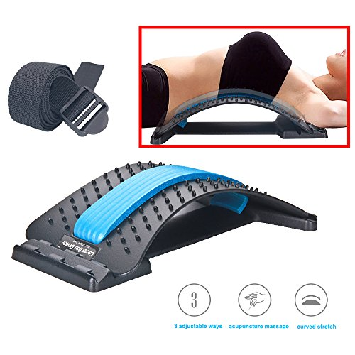 Enshey Back Stretcher Device Lumbar Stretching Device Supine Board for Hunchback Lumbar Correction Improve Posture Tool Back Pain Relief Extra Send Sports Black (Back Base Support)