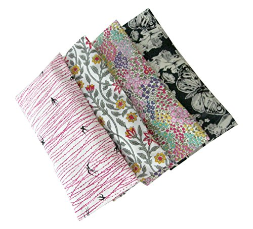Aromatherapy Eye Pillow - Bundle of (4) - 4.5 x 9 - Organic Lavender Chamomile Flax Cotton - Removable Cover Washable - pink gray black birds flowers by Peacegoods (Image #2)
