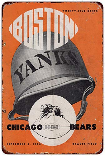 Jesiceny New Tin Sign 1946 Chicago Bears Boston Yanks Vintage Aluminum Metal Sign 8x12 Inches ()