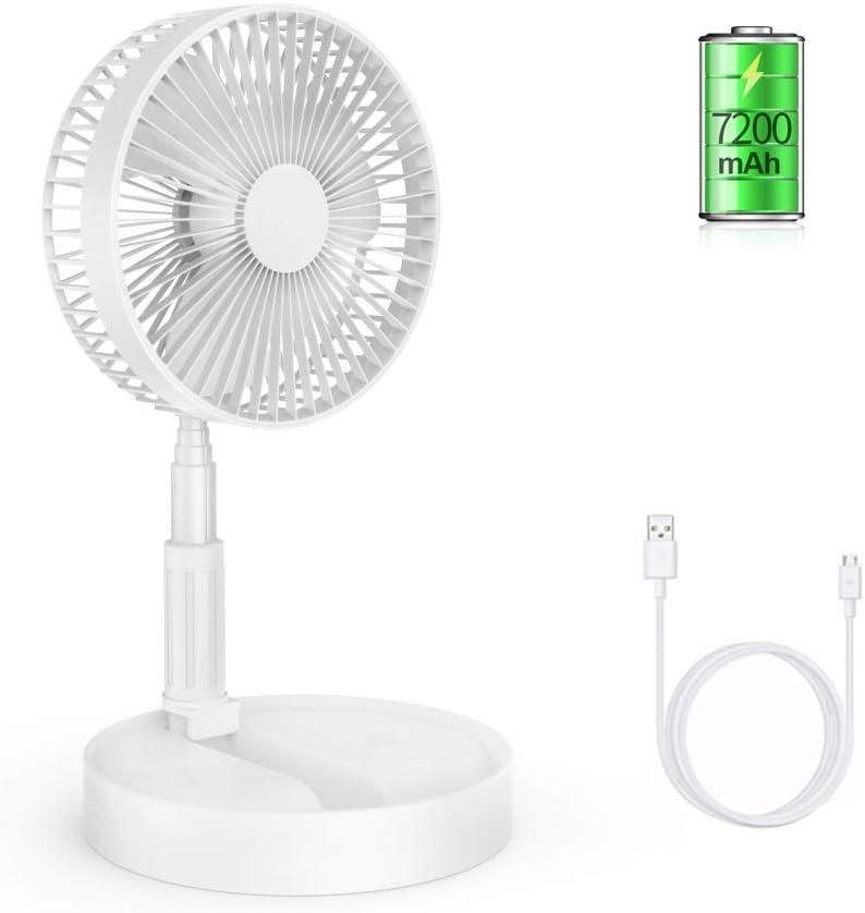 ETEKYER Folding Desk Fan, Portable Electronic Fan USB Desk Fan Battery Operated Fan Rechargeable Folding Fan Use in Office Home Outdoor White