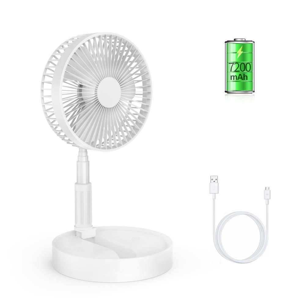 ETEKYER Folding Desk Fan, Portable Electronic Fan USB Desk Fan Battery Operated Fan Rechargeable Folding Fan Use in Office Home Outdoor (White) by ETEKYER