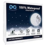Everlasting Comfort 100% Waterproof Pillow Protector, Hypoallergenic Pillow Covers, Breathable Membrane, Lifetime Replacement Guarantee (Standard, 2-Pack)