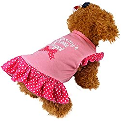 Dress Pet Dog,Cute Pet Puppy Small Dog Cat Pet Dress Apparel Clothes Fly Sleeve Dress (Pink, S)