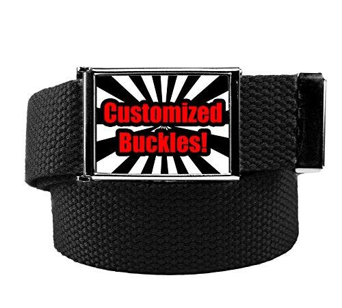 Custom Printed Men's Flip Top Bottle Opener Buckle with Canvas Web Belt Medium Black
