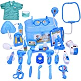 FUN LITTLE TOYS Doctor Kit for Kids 27 PCs Pretend Play Medical Kit with Electronic Stethoscope and Doctor Coat, Medical Costume Dress-Up for Toddlers Boys and Girls