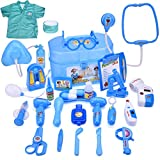 FUN LITTLE TOYS Doctor Kit Kids 27 PCs Pretend Play Medical Kit Electronic Stethoscope Doctor Coat, Medical Costume Dress-Up Toddlers Boys Girls