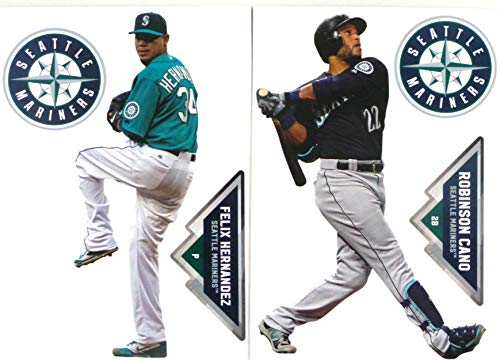 Felix Hernandez Mariners - FATHEAD Seattle Mariners Mini Graphics 2 Players Felix Hernandez and Robinson Cano + 2 Seattle Mariners Logo Official MLB Vinyl Wall Graphics - Each Player 7