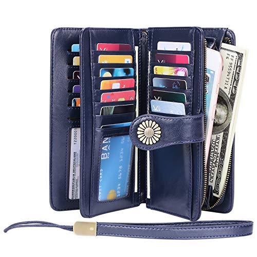 KELEEL Women's RFID Blocking Wallet Genuine Leather Clutch Wallet Card Holder Organizer Ladies Purse (Dark Blue)