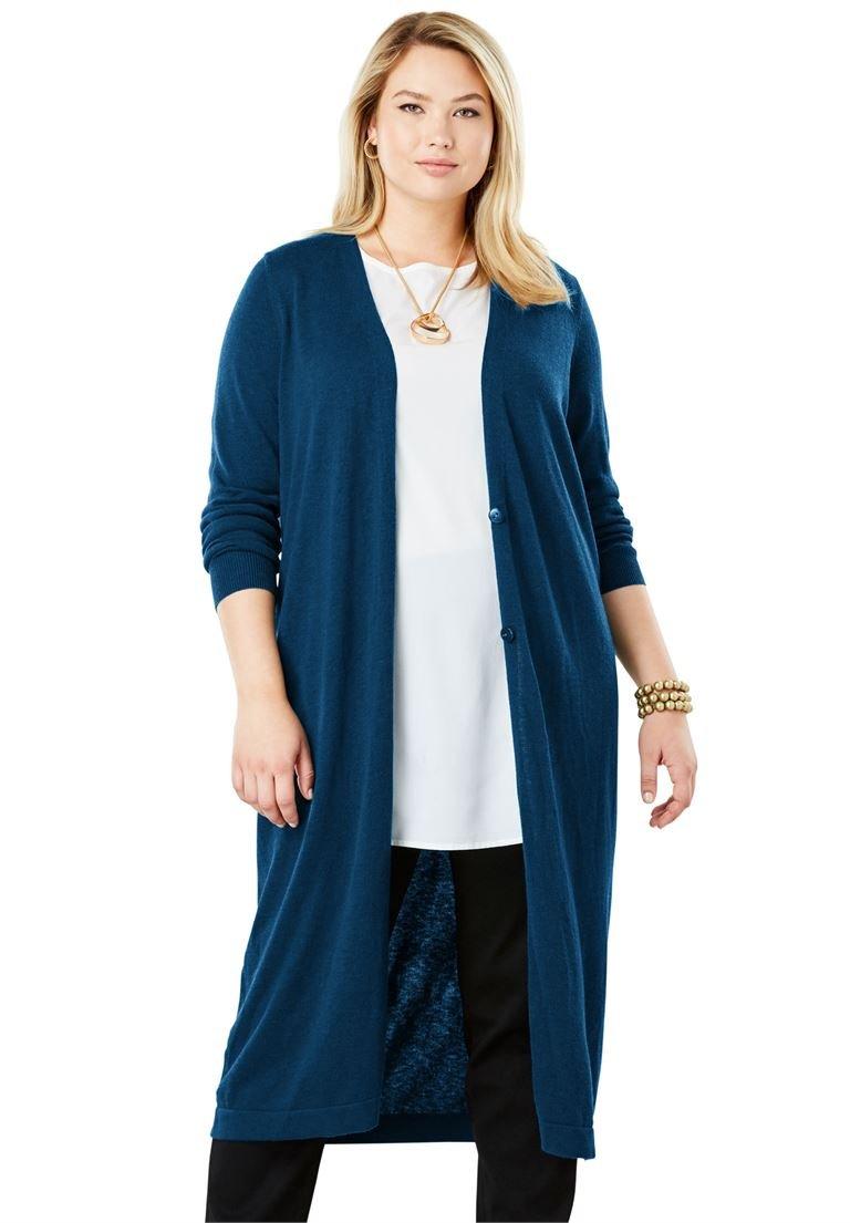 Jessica London Women's Plus Size Fine Gauge Duster Sweater Twilight Teal,26/28