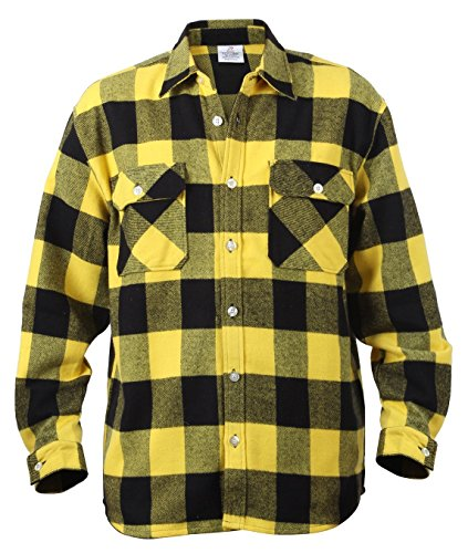 Brawny Flannel Shirt - Rothco Heavy Weight Brawny Flannel Shirt, Yellow, 4X-Large