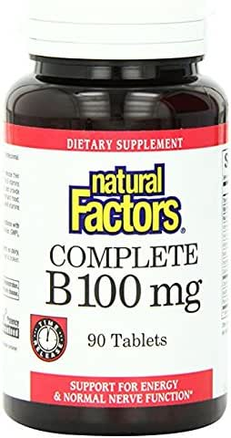 Natural Factors, Complete B 100 mg, Time Released Support for a Healthy Mood, Energy Levels, Skin, Hair and Vision, 90 tablets (90 servings)