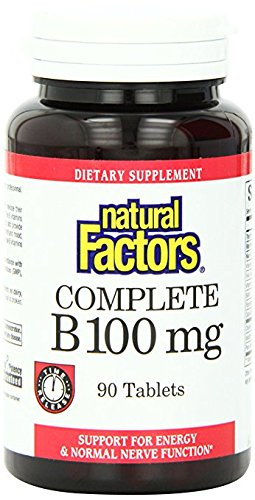 Natural Factors, Complete B 100 mg, Time Released Support for a Healthy Mood, Energy Levels, Skin, Hair and Vision, 90 tablets (90 servings) ()