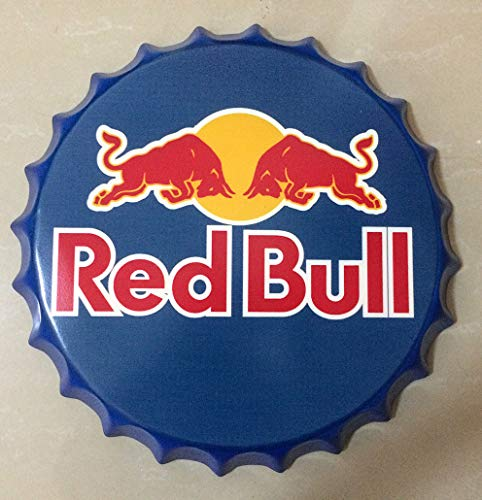 (NEWNESS WORLD Red Bull Retro Bottle Cap Metal Tin Signs Beer Cap Decoration Plates Wall Art Plaque Decoration Home Decoration/Bar/Cafe Bar(35cm by 35cm))
