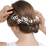 HailieBridal Women's Pearl Rhinestone Wedding Bridal Hair Vine Headpiece
