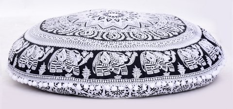 Bohemian Floor Pillows - Round Traditional Vintage Indian Pouf Floor Cushion Cover - Decorative Foot Stool - 100% Cotton - Filler NOT Included (Black & White) (Pillows Footstools)