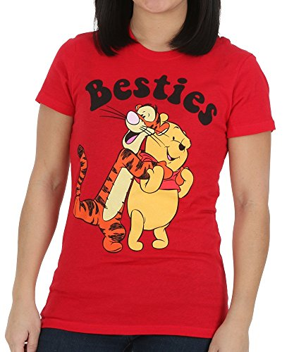 Winnie The Pooh and Tigger Besties Juniors Tee (Large, Red)