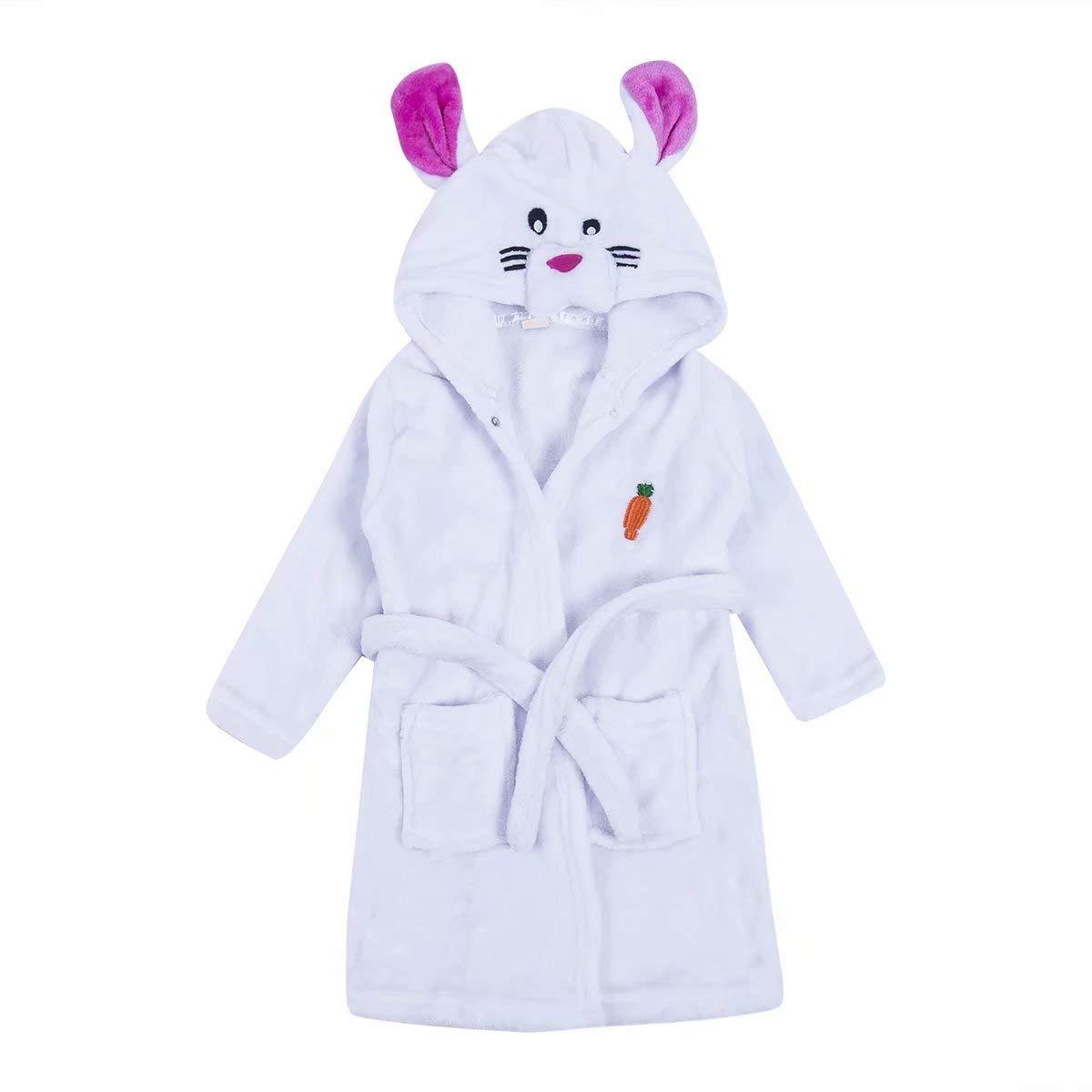 Kids Toddler Baby Boy Girl Unicorn Long Sleeve Flannel Hoodies Bathrobe Pajamas Fleece Sleepwear